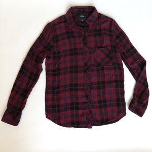 Rails XS Burgandy Blue Metallic Flannel Shirt